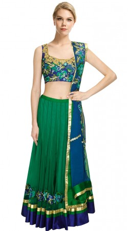 Beautiful Green Net Lehenga With Floral Work Choli SUUDL11315