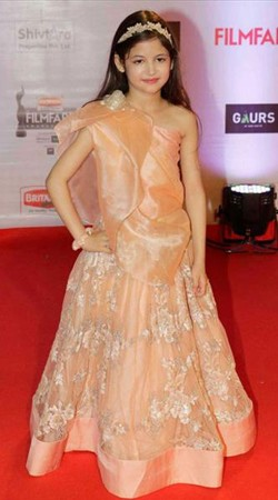Beautiful Harshaali Malhotra Peach Net One Shoulder Kids Dress BP0232