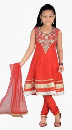 Beautiful Hot Red Net Stone Work Readymade Kids Salwar Kameez DT0940