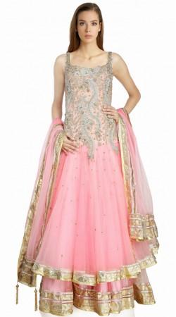 Beautiful Kasab Embroidered Pink Net Bridal Salwar Kameez SU17810