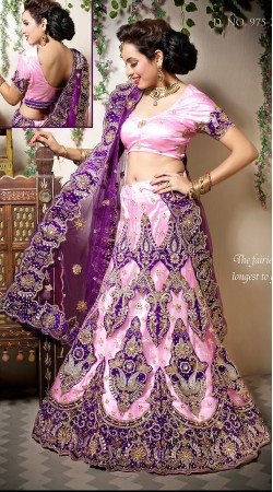 Beautiful Kundan Work Light Pink Net Wedding Lehenga Choli LD002905
