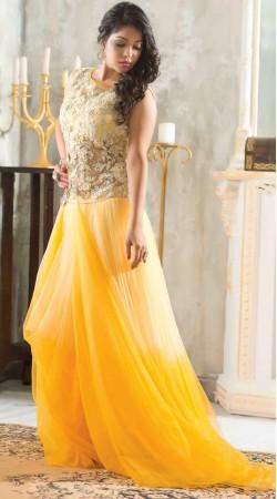 Beautiful Mango Yellow Net Readymade Indowestern Gown
