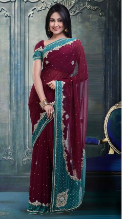 Beautiful Maroon Faux Georgette Party Wear Saree With Blouse ZP1204