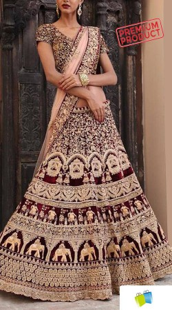 Beautiful Maroon Velvet Traditional Bridal Lehenga SGR01749