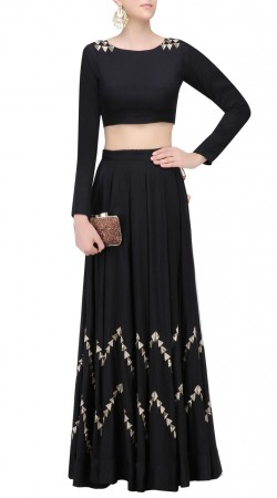 Beautiful Modernity Black Silk Designer Crop Top Lehenga SUUDL23419