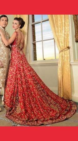 Beautiful Modernity Red Bridal Long Trail Lehenga