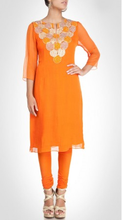 Beautiful Neck Work Orange Chiffon Designer Knee Length Kameez SUMS25317