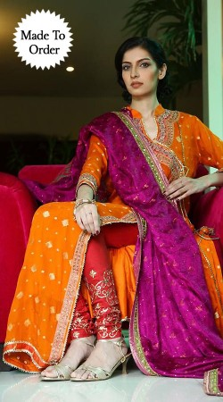 Beautiful Orange Premium Fabric Replica Designer Salwar Kameez BP1708