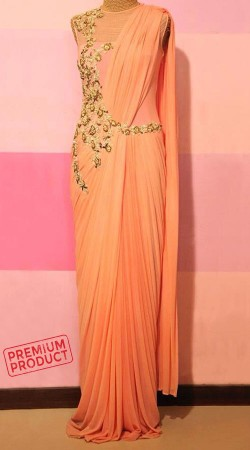 Beautiful Peach Designer Saree Gown For Party BP0146