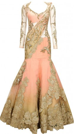Beautiful Peach Net Embroidered Designer Replica Saree Style Gown BP2504