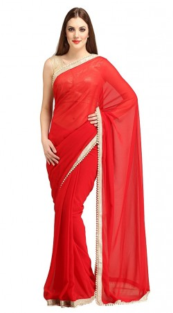 Beautiful Pearl Moti Border Red Bridesmaid Saree 2YS118160