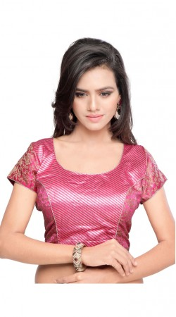 Beautiful Pink Art Silk And Art Silk Jacquard Designer Blouse BPMS2712