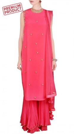 Beautiful Pink Crepe Party Wear Sharara BP1545