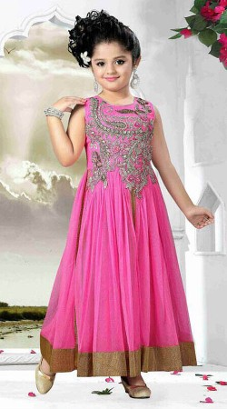 Beautiful Pink Net Designer Readymade Kids Gown DT51542