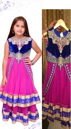 Beautiful Pink Net Readymade Kids Suit DT102229