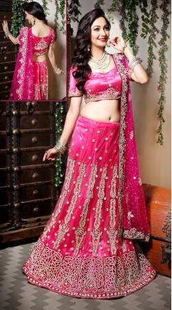 Beautiful Pink Net Semi Bridal Lehenga Choli LD004005