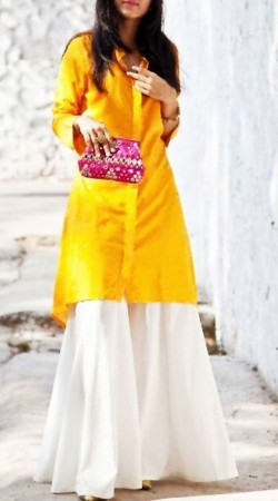 Beautiful Plain Yellow Shirt Style Kameez With Palazzo Pant BP0847