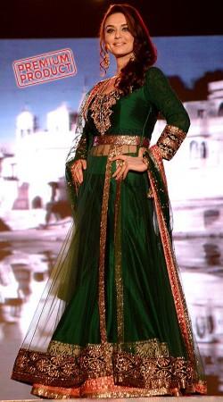 Beautiful Preity Zinta Green Replica Lehenga With Side Cut Long Choli BP1219