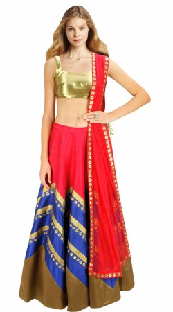 Beautiful Red And Blue Silk And Net Designer Crop Top Lehenga SUUDL2113