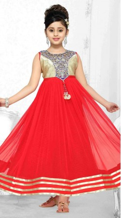 Beautiful Red Net Designer Readymade Kids Gown DT302141