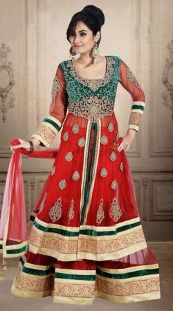 Beautiful Red Net Wedding Long Choli Lehenga With Dupatta DT902634