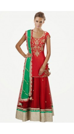 Beautiful Red Pure Silk And Tissue Long Choli Lehenga SUUDL7614