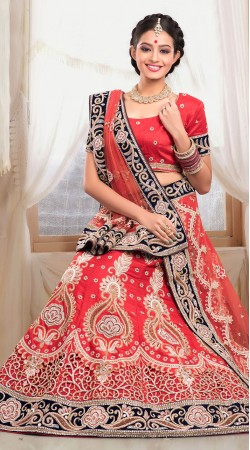 Beautiful Red Raw Silk Semi Bridal Lehenga Choli With Dupatta ZP1005