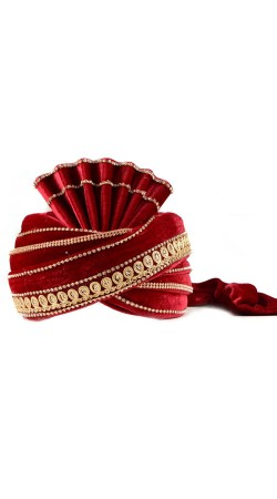 Beautiful Red Velvet Dashing Groom Wedding Turban ZP0410
