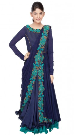 Beautiful Resham Embroidered Blue Silk Saree Style Gown SUUDS29704