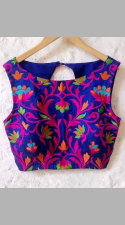 Beautiful Resham Work Blue Premium Fabric Designer Blouse For Saree BP4709