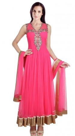 Beautiful Ruby Net Readymade Designer Salwar Kameez With Dupatta SU16410