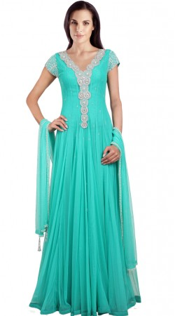 Beautiful Sea Green Net Readymade Indo Western Salwar Kameez SU15910