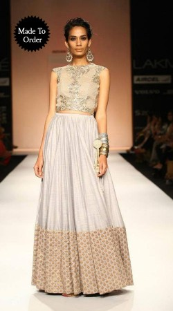 Beautiful Silver Net Replica Wedding Lehenga Choli SMDS0III