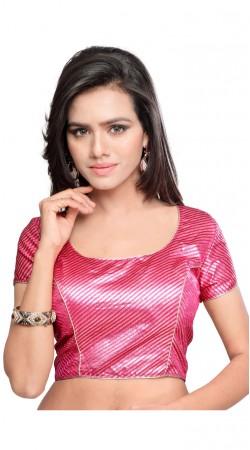 Beautiful Silver Work Pink Art Silk Designer Blouse BPMS0112