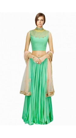 Beautiful Turquoise Georgette And Net Wedding Lehenga Choli SUUDL6014