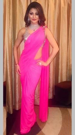 Beautiful Urvashi Rautela Pink Ready To Wear Saree BP0733