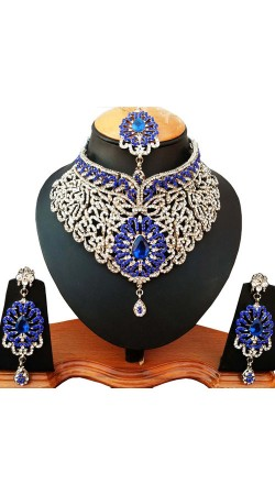 Beautiful White And Blue Necklace Set With Maang Tika NNP77804