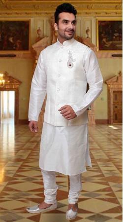 Beautiful White Art Silk Nehru Waist Coat Style Kurta Pyjama DTKPJ633