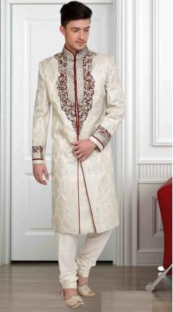 Beautiful White Brocade Embroidered Wedding Sherwani DTWSH1235