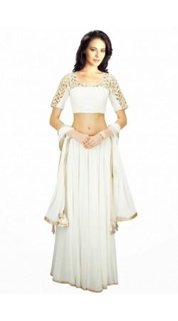 Beautiful White Georgette And Chiffon Wedding Lehenga Choli SUUDL6314