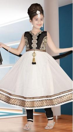 Beautiful White Net Readymade Kids Anarkali Suit DT300641
