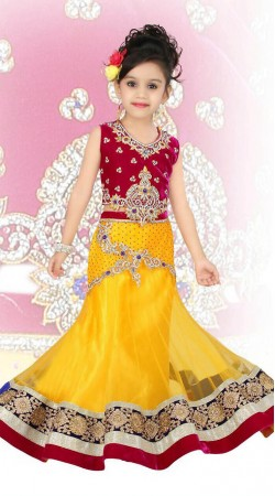 Beautiful Yellow Net Designer Readymade Kids Lehenga Choli DT52042