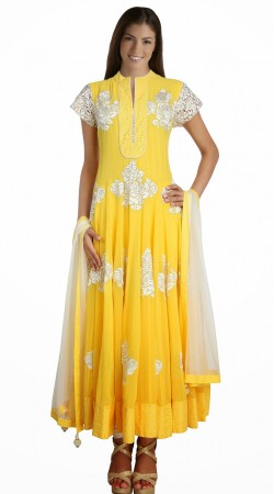 Beautiful Yellow Net Readymade Ready Made Salwar Kameez SU19710
