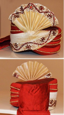 Beautifully Crafted Cream And Red Art Silk Groom Wedding Pagri ZP1408