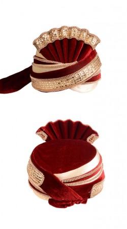 Beautifully Crafted Cream And Red Velvet Zari Lace Work Wedding Turban ZP0111