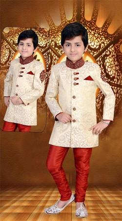 Beautifully Crafted Cream Premium Fabric Kids Boy Sherwani DT116053