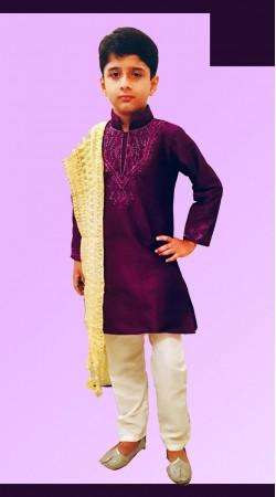 Beautifully Crafted Dark Purple Dupion Silk Boy Kid Kurta Pajama DT11657