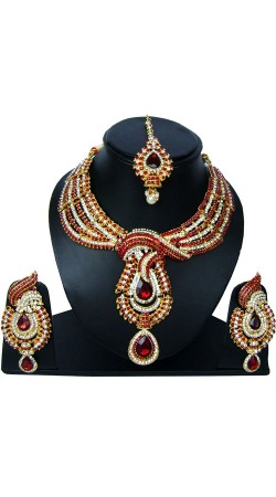 Beautifully Crafted Designer Necklace Set With Maang Tika NNP83607