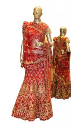Beautifully Crafted Gold Zarkan Stone Work Red Net Bridal Lehenga Choli SD0158
