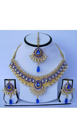Beautifully Crafted Golden Plated Blue Stone Work Necklace Set With Tika N61499